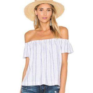 BELLA DAHL White Off-Shoulder Top with Blue Stripe